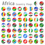 Ensemble africain de bouton de drapeau national de vecteur Photographie stock libre de droits
