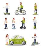 Ensemble alternatif écologique de véhicule de transport, les gens montant la voiture électrique moderne, scooter, bicyclette, seg illustration libre de droits