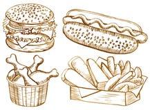 Ensemble américain de nourriture illustration de vecteur