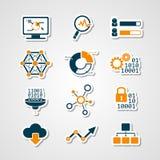 Ensemble analytique de coupe de papier d'icônes de données Images stock