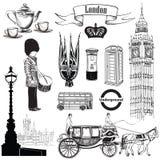 Ensemble anglais d'icône Symboles de Londres, Angleterre, R-U, l'Europe Attraction de main Image libre de droits