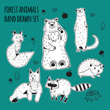 Ensemble animal d'illustration de forêt Photos stock