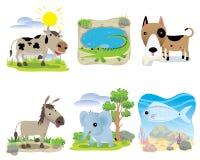 Ensemble animal de vecteur, vache, crocodile, chien, âne, éléphant, poisson, illustration stock