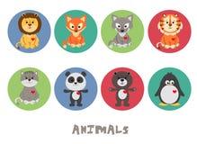 Ensemble animal drôle d'icône d'illustration de vecteur Images stock