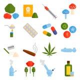 Ensemble antibiotique de vecteur de pharmacie de comprimés de pilules de capsule de tas de mélange de thérapie de drogues de grip Image stock