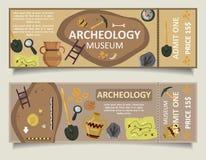Ensemble archéologique de calibre de vecteur de billet de musée illustration de vecteur