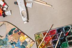 Ensemble artistique pour la peinture photo stock