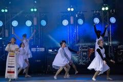 Ensemble of artists on stage at Tablaos El Cardenal Cordoba Spain . Russia Berezniki 26 may 2019 stock photography