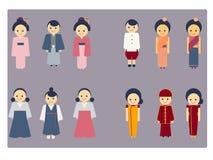 Ensemble asiatique de vecteur d'icône de culture Image libre de droits