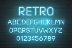 Ensemble au néon léger de lettre de police Type de vecteur de signe de barre Alphabet rouge rougeoyant des textes de casino et de illustration libre de droits