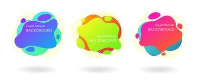 Ensemble au néon liquide de bannière de couleur, bulle moderne fraîche de cadre des textes images libres de droits