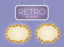 Ensemble bannière légère brillante de vintage de rétro avec des ampoules Lumières réalistes avec la lueur transparente Illustrati Images stock