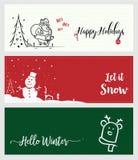 Ensemble bannières sociales de Noël et de nouvelle année de media Photos stock