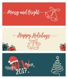 Ensemble bannières sociales de Noël et de nouvelle année de media Image libre de droits