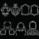 Ensemble baroque de meubles de vecteur Photos stock