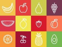 Ensemble blanc d'icône de fruit d'ensemble Fruits blancs de course centrés dans les places colorées illustration stock