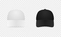 Ensemble blanc et noir d'icône de casquette de baseball Front View Plan rapproché de calibre de conception dans le vecteur La maq Photographie stock libre de droits