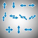 Ensemble bleu d'icône de flèche Image libre de droits