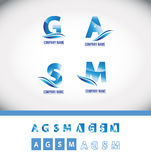 Ensemble bleu d'icône de logo de lettre d'alphabet Photos libres de droits