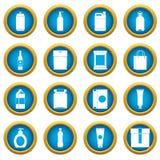 Ensemble bleu de cercle d'icônes d'articles d'emballage illustration libre de droits