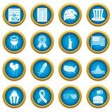 Ensemble bleu de cercle d'icônes de drapeau de Jour de la Déclaration d'Indépendance Image stock
