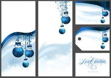 Ensemble bleu de salutations de Noël illustration de vecteur