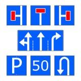 Ensemble bleu de vecteur de panneau routier d'infos Photographie stock