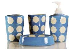 Ensemble bleu et blanc de salle de bains Photographie stock