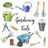 Ensemble bleu-vert de clipart (images graphiques) d'outils de jardinage, illustration tirée par la main d'aquarelle illustration libre de droits