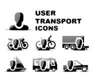 Ensemble brillant d'icône de transport noir d'utilisateur Photographie stock