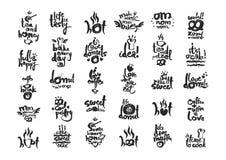 Ensemble calligraphique de lettrage de pâtisserie douce Photos libres de droits
