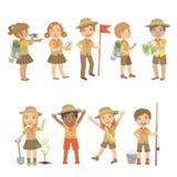 Ensemble campant de scouts d'enfants illustration stock