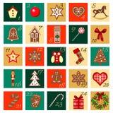 Ensemble carré par icône tirée par la main de vecteur d'Advent Calendar grande Image libre de droits