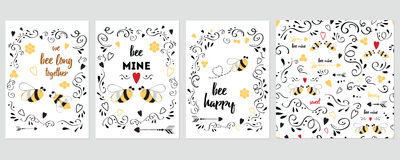 Ensemble carte d'anniversaire, de salutation, d'invitation et de valentines de jour illustration de vecteur