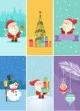 Ensemble cartes de voeux de Noël et de nouvelle année Photographie stock libre de droits