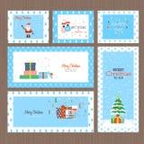 Ensemble cartes de voeux de Noël plat de conception et de nouvelle année Photo stock