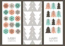 Ensemble cartes de voeux de vecteur nouvelle tiré par la main d'année et de Noël