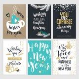 Ensemble cartes de voeux plates de Noël et de nouvelle année de conception Image stock