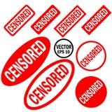 Ensemble censuré de rouge en rond et de tampons en caoutchouc carrés illustration libre de droits