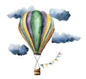 Ensemble chaud de ballon à air d'aquarelle Ballons à air peints à la main de vintage avec des guirlandes de drapeaux, des nuages  Image stock