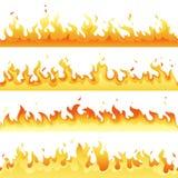 Ensemble chaud sans couture de flamme du feu, collection de lumière du feu de danger d'isolement sur le fond blanc Flamme rouge e illustration de vecteur