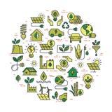 Ensemble circulaire de concept de symbole d'?nergie verte de vecteur illustration stock