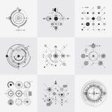Ensemble circulaire de vecteur de grilles de technologie scientifique de bauhaus illustration de vecteur