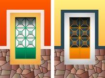 Ensemble colonial d'illustration de vecteur de fenêtre, cadre en pierre rustique coloré illustration libre de droits