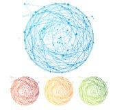 Ensemble coloré abstrait de sphère de vecteur Conception plate Images libres de droits