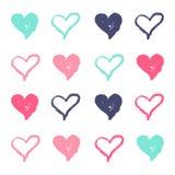 Ensemble coloré d'aspiration de main de coeur pour le fond illustration libre de droits
