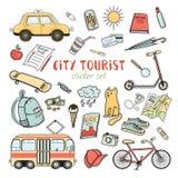 Ensemble coloré d'autocollant de la vie de ville de griffonnages tirés par la main illustration de vecteur