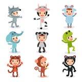 Ensemble coloré d'enfants dans différents costumes animaux illustration stock
