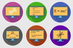 Ensemble coloré d'icône de bouton de sujet différent illustration stock