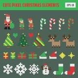 Ensemble coloré d'icône d'éléments de Noël de pixel illustration de vecteur